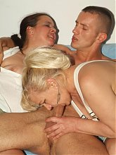 Elizabeth and Julianna are horny mature women showing off their curves in a live threesome sex
