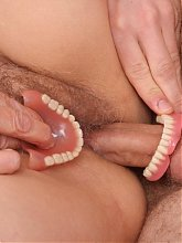 Experienced older woman Irene shows off her expertise in dishing out a hot toothless blowjob