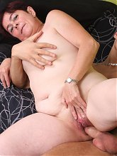 Nasty mature Simone sucks a cock with gusto and got her old cooter fucked in many ways