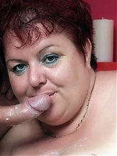 Big fat and horny mature wife Margaret gets her pussy filled and her face glazed with cum